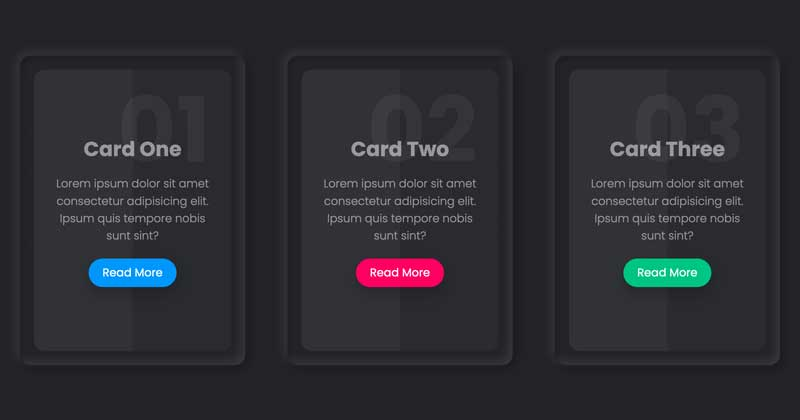 Cards with Neumorphism and Hover Effect - CSS