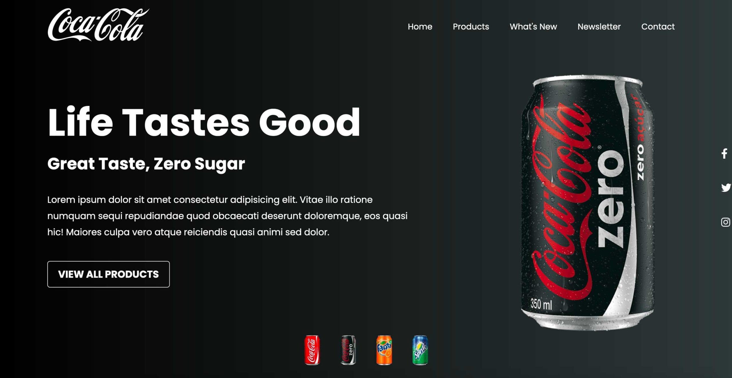 Coca Cola Landing Page Concept