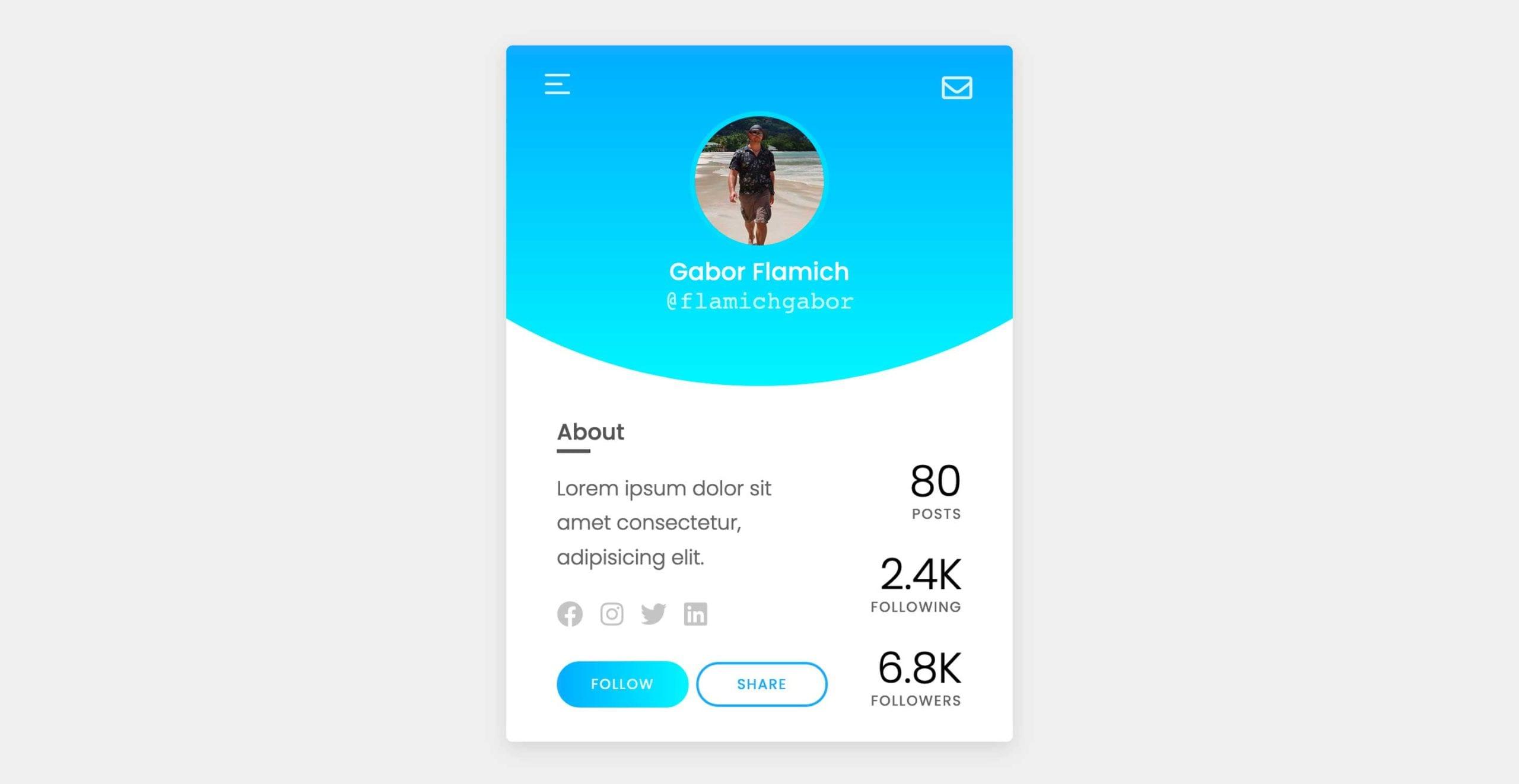 social media profile ui design