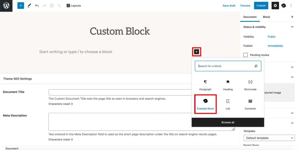 add genesis-custom-block with gutenberg